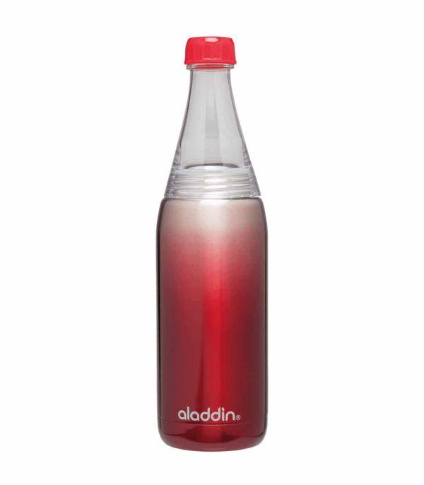 בקבוק עשוי נירוסטה לשתיה קרה בנפח של 600 מ''ל עם פיה צרה ופתח רחב למילוי אדום