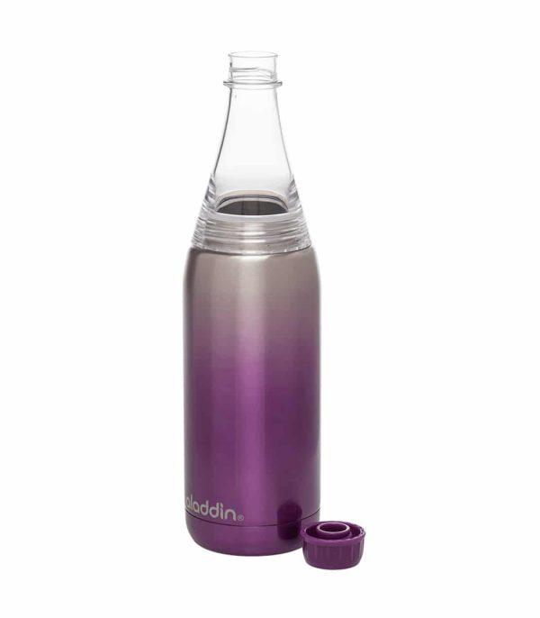 בקבוק עשוי נירוסטה לשתיה קרה בנפח של 600 מ''ל עם פיה צרה ופתח רחב למילוי סגול