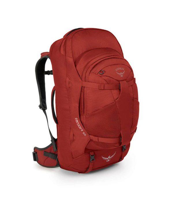 תיק נסיעות כולל תיק מחשב ניתק בנפח 55 ליטר אדום