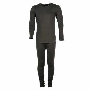 סט חולצה ומכנס תרמי שחור לשמירה על חום הגוף