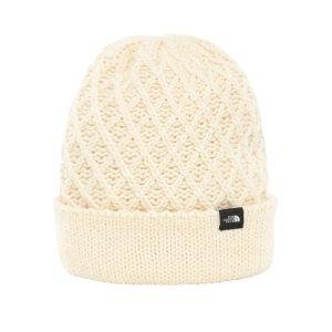 כובע נשים דוגמת צמר קלוע בצבע שמנת