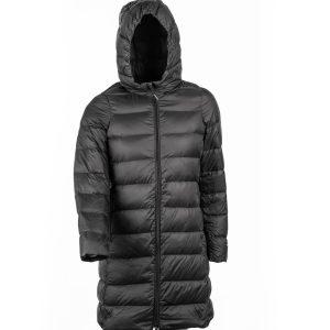 מעיל פוך טבעי ארוך לנשים בצבע שחור