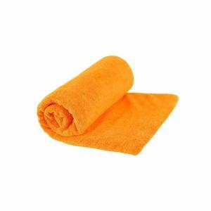 מגבת טיולים עשויה מיקרופייבר המתייבשת מהר כתומה