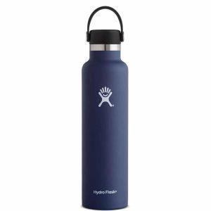 בקבוק שתיה קרה/חמה עשוי נירוסטה, מבודד על ידי וואקום כחול