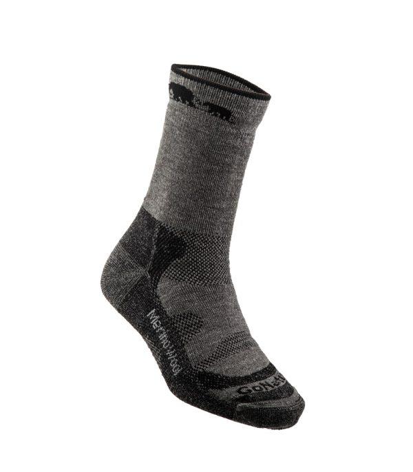 גרבי הליכה מצמר מרינו בצבע אפור-שחור