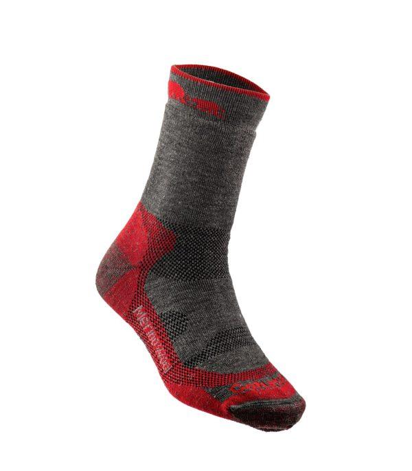 גרבי הליכה מצמר מרינו בצבע אדום-אפור