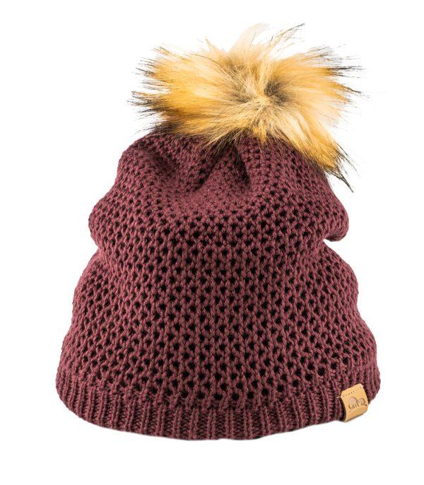 כובע חורפי לנשים מצמר מרינו בורדו