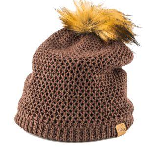 כובע חורפי לנשים מצמר מרינו חום