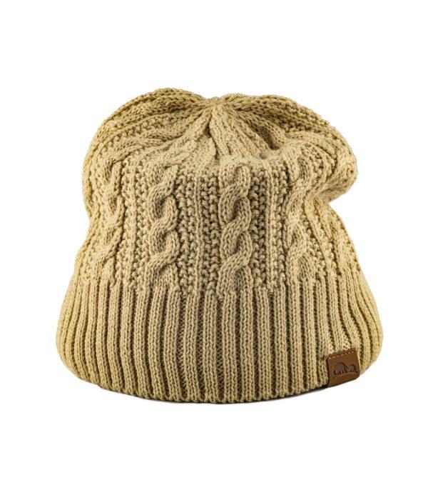 כובע חורפי לנשים מצמר מרינו בז'