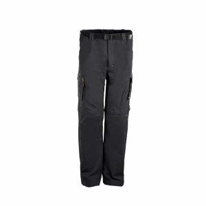 מכנס טיולים לגברים עם חגורה מבד נמתח בצבע שחור