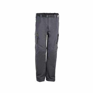 מכנס טיולים לגברים עם חגורה מבד נמתח בצבע אפור