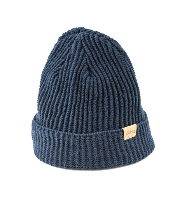 כובע חורפי טבעוני- עשוי מבד סינטטי כחול