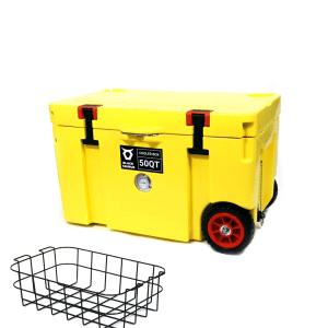 צידנית 50 ליטר עם גלגלים בצבע צהוב וסלסלה מתנה