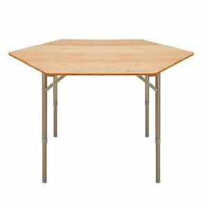 שולחן שטח משושה עם פלטת עץ במבוק עמידה במיוחד במצב גבוה