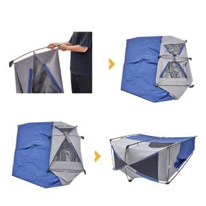 שלבי פתיחה/קיפול אוהל מקלחת יחיד