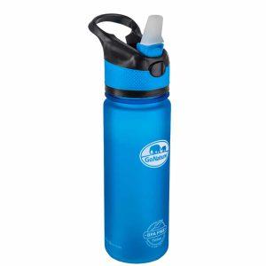 """בקבוק שתייה קשיח בנפח 750 מ""""ל בצבע כחול פקק פתוח"""