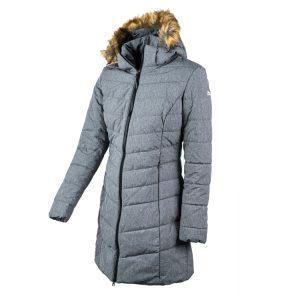 מעיל פוך סינטטי ארוך עם כובע המיועד לשימוש באקלים קר צבע אפור