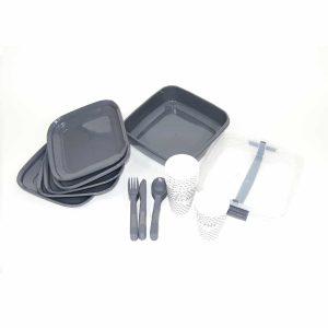 סט כלי אוכל רב פעמי מפלסטיק