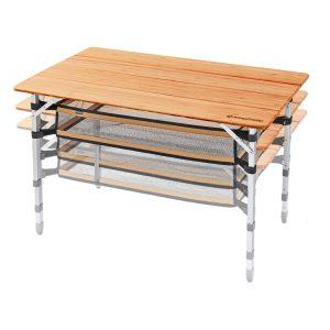 שולחן בעל שלד אלומיניום קל וחזק ויכולת שימוש בגבהים שונים.
