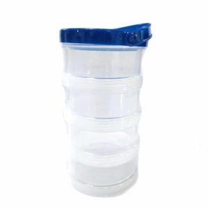 4 קופסאות פלסטיק המתברגות אחת על השניה