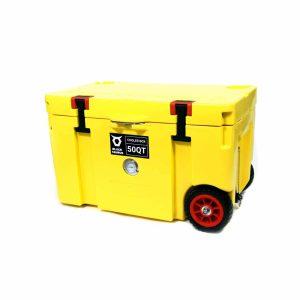 צידנית 50 ליטר עם גלגלים בצבע צהוב