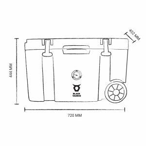 מידות צידנית 50 ליטר עם גלגלים