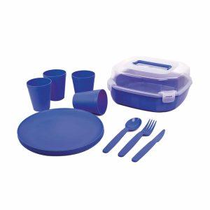 סט כלי אוכל רב פעמי מפלסטיק צבע כחול