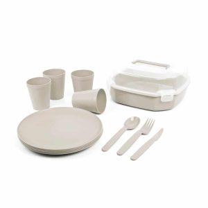 סט כלי אוכל רב פעמי מפלסטיק צבע אפור