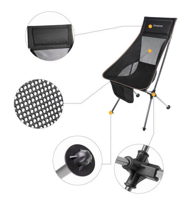 מסגרת אלומיניום קלה וחזקה המושב והמשענת עשויים בד פוליאסטר איכותי ורשת אוורור מפוליאסטר חזק במיוחד.