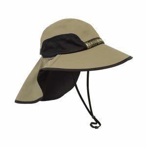 כובע מטיילים איכותי רחב שוליים עם תוספת בד להגנה על העורף . צבע חום