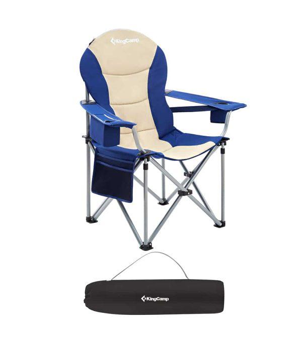 כיסא שטח עמיד וגדול במיוחד, עשוי מסגרת ברזל מסיבית, עם ידיות רכות.