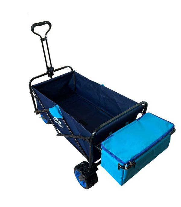 עגלת ארבעה גלגלים לנשיאת ציוד צידנית נשלפת כחלק מהעגלה