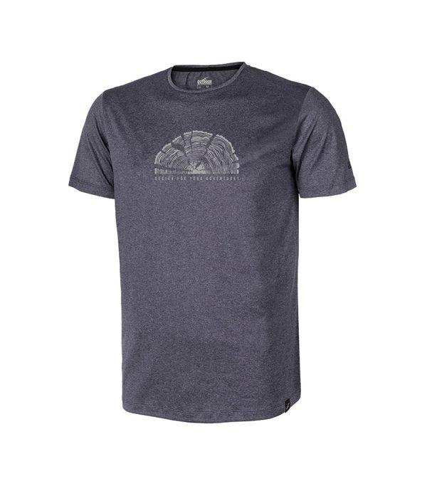 חולצת טי אאוטדור מנדפת זיעה עם הדפס בצבע אפור כהה